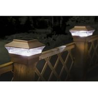 Kingfisher Solar Powered LED Self Charging Fence Post Lights for Garden & Patio
