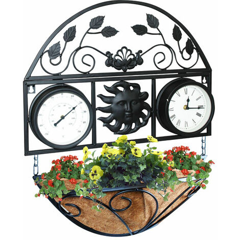 Kingfisher Wall Planter with Clock & Thermometer