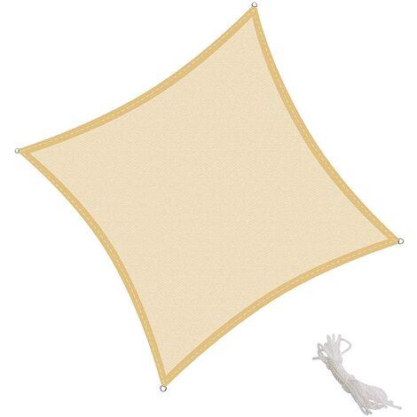 KingShade Toldo Vela Cuadrado 2x2m Vela de Sombra para Exteriores Patio Jardín Protección UV Polietileno de Gran Densidad Transpirable, Color Arena