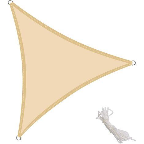 KingShade Toldo Vela Triangular 3x3x3m Vela de Sombra para Exteriores Patio Jardín Protección UV PES Impermeable, Color Arena