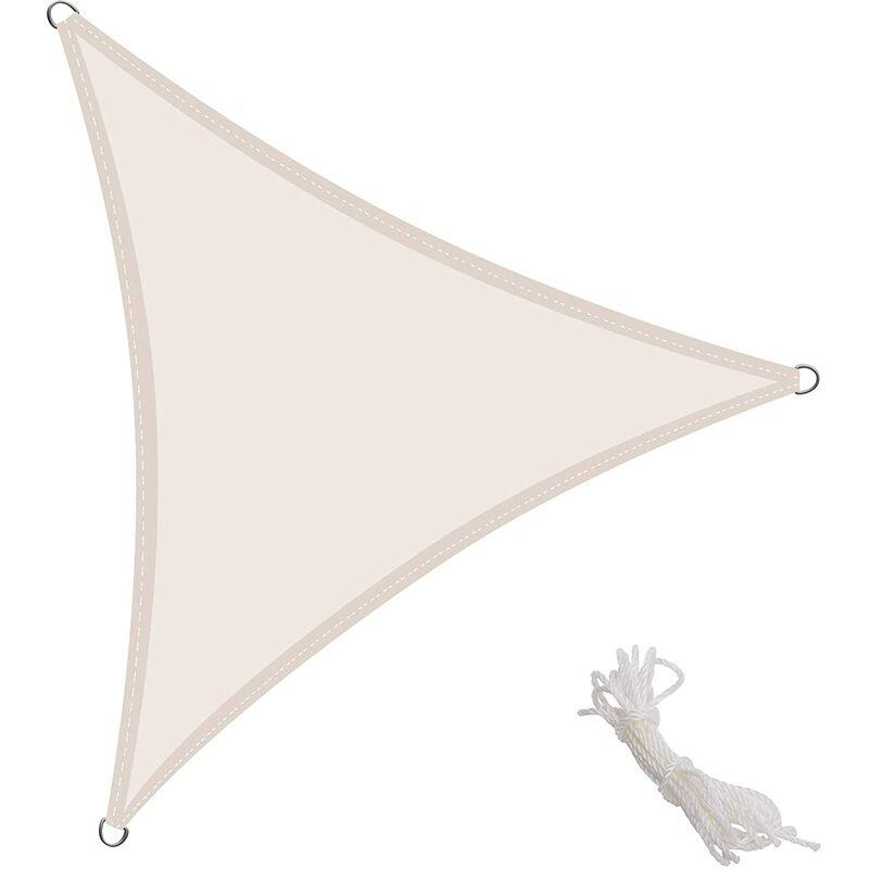 Kingshade Voile d'ombrage Triangulaire 4x4x4m toile Solaire pour Extérieur Jardin Protection UV PES imperméable, Couleur Crème