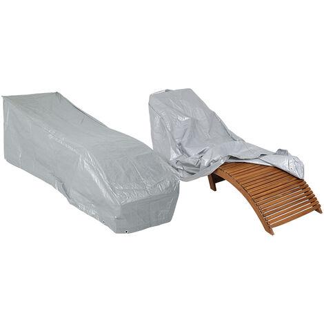 Kingsleeve - Bâche de protection - Housse pour bain de soleil / Chaise longue Résistante aux intempéries Anti-déchirures Hydrofuge 197x66x32/60cm Gris Abdeckung Sonnenliege (de)