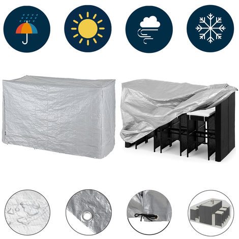 Kingsleeve Cover Bar Set 187x86x112cm Weatherproof Protective PE Table Chair Garden Furniture Tarpaulin Covering