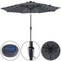 Kingsleeve Sonnenschirm Gartenschirm Kurbel Solar Alu LED Beleuchtung neigbar Ø300cm Anthrazit