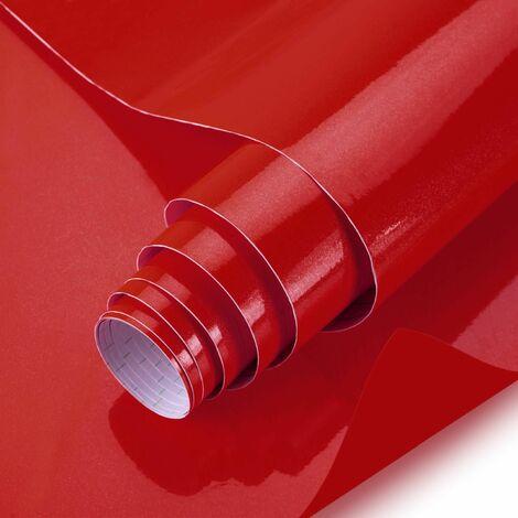 KINLO 0,61x5M Papier Peint Auto-Adhésif Rouge Armoire de Cuisine en PVC Imperméable Style Moderne Stickers Autocollant Muraux Étanche Décoration Chambre Salon Meuble - Rouge