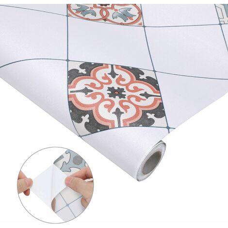 KINLO Papier Peint de Carrelage Auto-Adhésif,0,61x5M PVC Style Moderne Stickers Autocollant Muraux Étanche Décoration pour Armoire de Cuisine en pour Salle de Bain et Cuisine(type-A) - Typ-A