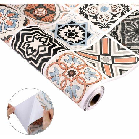 KINLO Papier Peint de Carrelage Auto-Adhésif,0,61x5M PVC Style Moderne Stickers Autocollant Muraux Étanche Décoration pour Armoire de Cuisine en pour Salle de Bain et Cuisine(type-B) - Typ-B