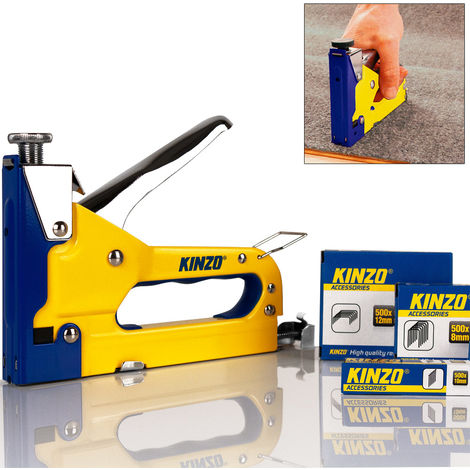 KINZO 3-in-1 Hand Staple and Stapler Set - Yellow Gun Kit Tacker