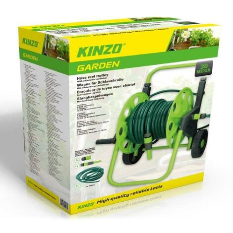 Kinzo Enrouleur de tuyau comprenant un tuyau d'arrosage de 30 m et des accessoires