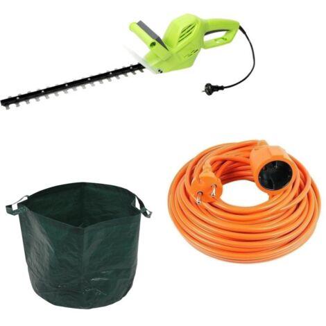 Kinzo garden Taille-haie électrique - 500 Watt - 1500 tr/min - longueur de lame 410 mm + AVEC sac à déchets de jardin - 65 L et rallonge Vekto 10 m orange 2500 watt