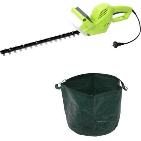 Kinzo garden Taille-haie électrique - 500 Watt - 1500rmp - longueur de la lame 410mm + un sac à déchets de jardin - 65 L INCLUS