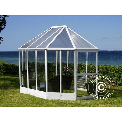 Kiosque de jardin en polycarbonate 6,96m², 2,41x3,3x2,58m, Blanc