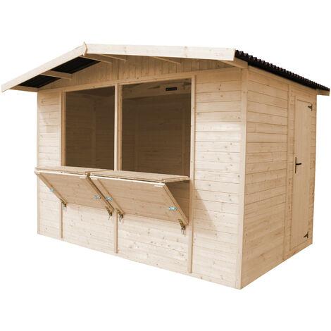 Kiosque en bois Naturel- Étal de marché en pin/épicéa- H232x336x263 cm/6 m2- construction en panneaux - TIMBELA M150