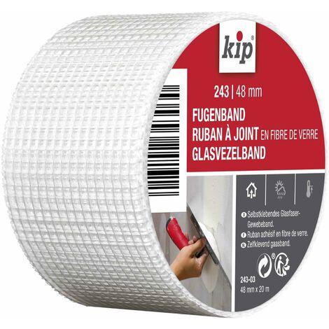 Kip ? Ruban à joint en fibre de verre 243-03 ? Bande adhésive idéale pour l\'étanchéité des joints et des trous ? Dimensions : 48mm x 20m ? Couleur blanc