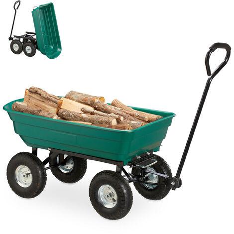 """Kippwagen, Gartenwagen mit Kippfunktion, zum Outdoor Transport, Lenkachse, bis 200kg, Luftreifen 3.50-4"""", grün"""