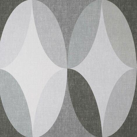 Kirby Oval Charcoal Wallpaper Crown Textured Vinyl Geometric White Grey Modern
