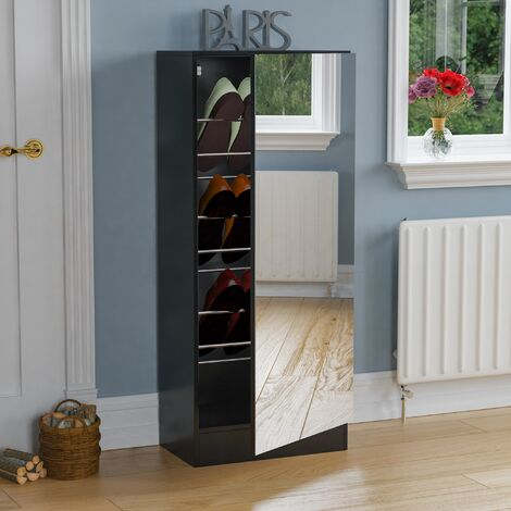 Kirkham Mirrored Shoe Cabinet, 120cm, Black