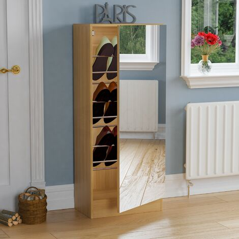 Kirkham Mirrored Shoe Cabinet, 120cm, Oak