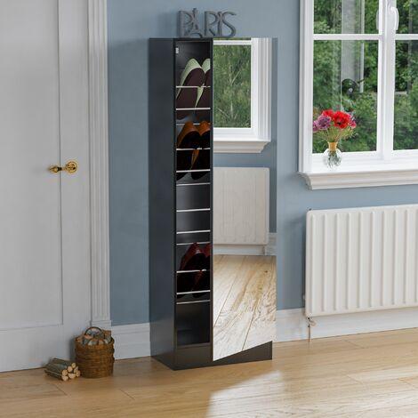 Kirkham Mirrored Shoe Cabinet, 150cm, Black