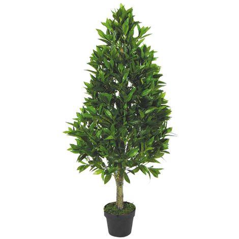 Kirsch Lorbeer Kegelbaum Kunstpflanze Kunstbaum Künstliche Pflanze mit Naturholz 120cm Decovego