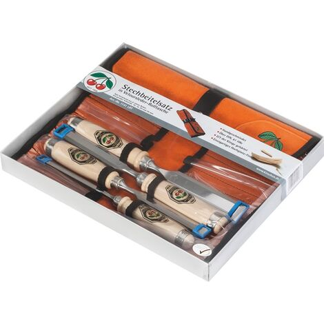 Kirschen 4-teiliger Stechbeitelsatz 1001 mit Weißbuchenheft in Lederrolltasche bestehend aus 10+16+20+26mm