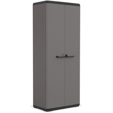 KIS Armoire de rangement utilitaire Più - 68 x 39 x 166 cm - Gris anthracite et noir