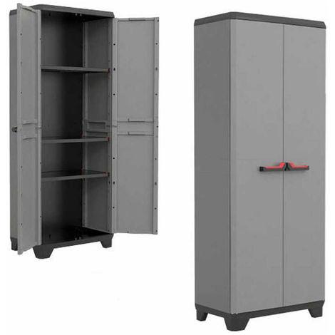 pas cher pour réduction ce98c e2cc7 Kis Armoire haute en résine étagères 2 portes gris ameublement extérieur  STILO 9721
