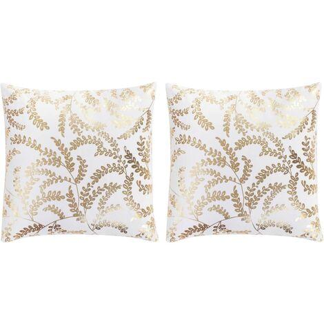 Kissen 2 Stk. Foliendruck Weiß und Golden 40 x 40 cm Baumwolle