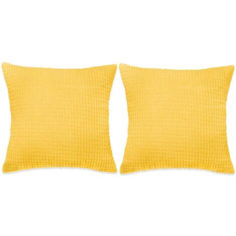 Kissen-Set 2 Stk. Velours 45 x 45 cm Gelb