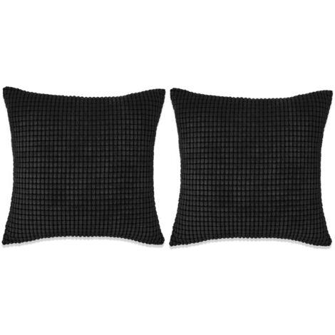Kissen-Set 2 Stk. Velours 45 x 45 cm Schwarz