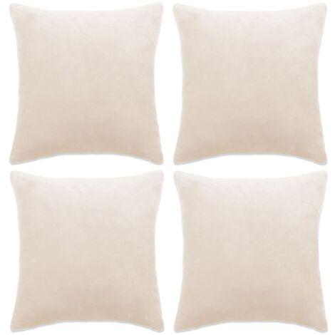 Kissenbezüge 4 Stk. Velours 40 x 40 cm Gebrochen Weiß