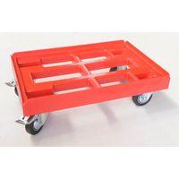 Kistenroller mit 4 LenkrollenTransportroller Stapelbehälter 600 x 400 mm Gummiräder Metall Felge