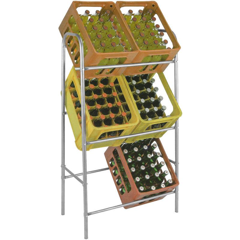 Kistenständer Kastenständer Flaschenkastenständer Flaschenkastenregal Getränkekistenständer Getränkeregal Für 6 Kisten Inkl Wandhalterung Stahl
