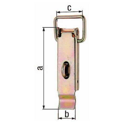 Kistenverschluss H.93mm B.30mm STA galv.gelb verz.f.Vorhangschl.m.max D.7mm GAH