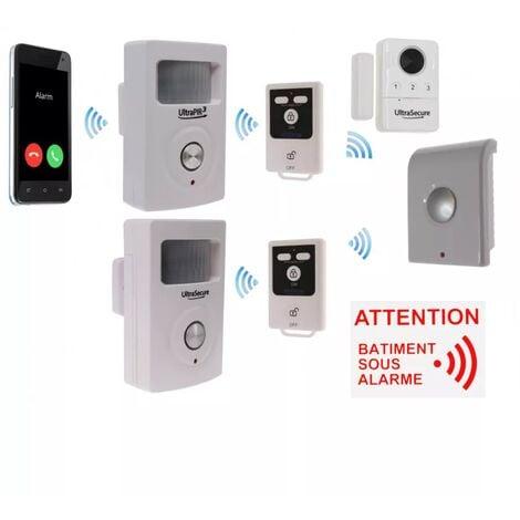 Kit 1 avancé 100% sans-fil autonome garage abris de jardin GSM 3G - 3 détections + 4 sirènes + télécommandes (gamme BT)