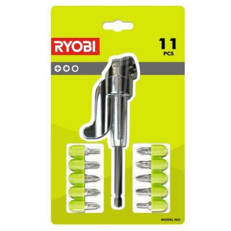 Kit 10 embouts RYOBI plus 1 renvoi d'angle pour Perceuses - Visseuses