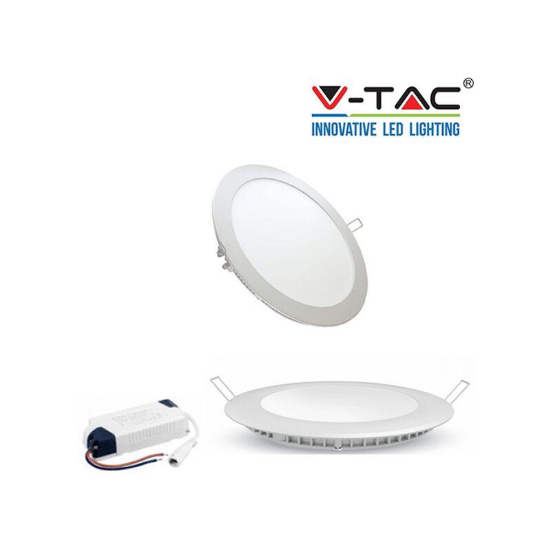 KIT 10 FARETTO LED PANNELLO SLIM 6 12 18 WATT INCASSO A MOLLA V TAC TONDO ROTOND-6W-freddo - S-DSHOP