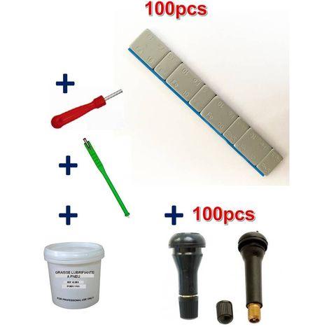 Kit 100 Plombs Masses d'Equilibrage Adhésifs 4x5g+4x10g +100 Valves TR413-414 + Tire Valve + Démonte Obus + Graisse Pneu
