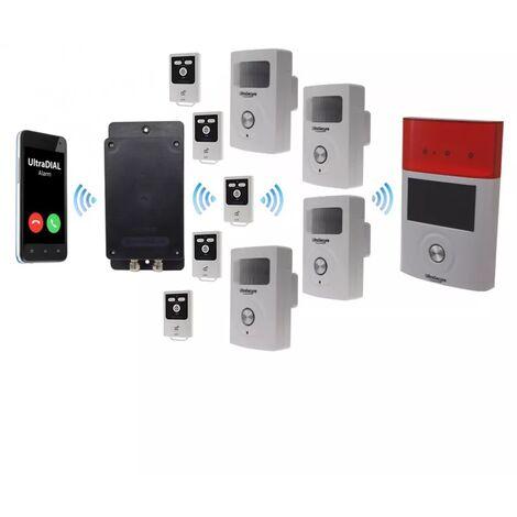 Kit 100% sans-fil autonome 4 détections de mouvements + sirènes intégrées + solaire + alerte GSM 3G Appel/SMS (gamme BT)