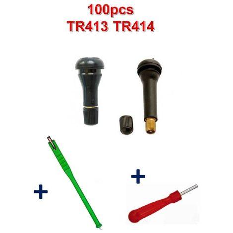 Kit 100 Valves TR413 et TR414 + Tire Valve + Démonte obus