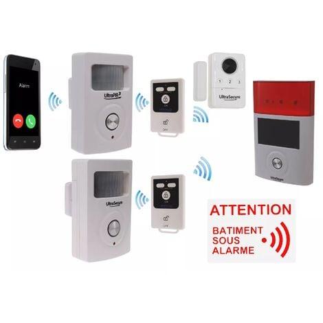 Kit 12 avancé 100% sans-fil autonome garage abris de jardin GSM 3G - 3 détections + 4 sirènes + télécommandes (gamme BT)
