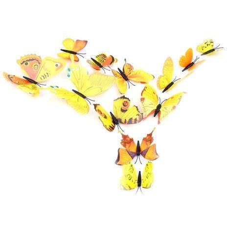 """main image of """"Kit 12 mariposas 3D adhesivas para pared - Decoración y muebles para el hogar"""""""