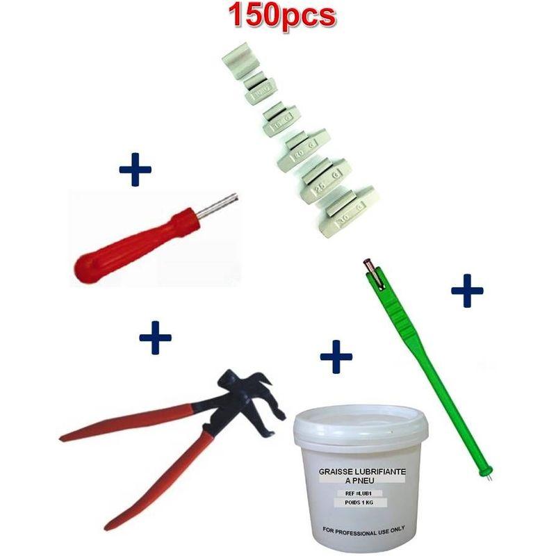 Kit 150 Plombs Masse d'Equilibrage à Frapper 5 à 30gr + Tire Valve + Démonte Obus + Graisse Pneu + Pince