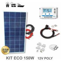 Kit 150W ECO 12V panel solar policristalino