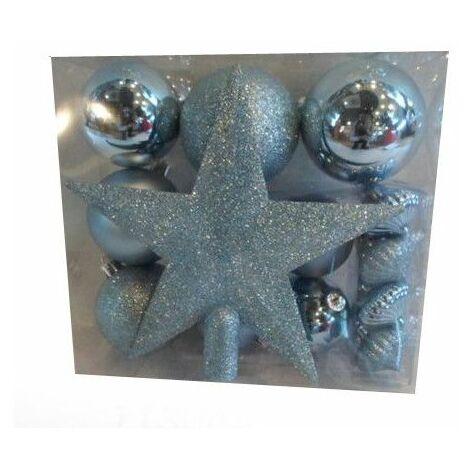 Kit 18 décorations de sapin - Boule et cimier - Bleu pale - Livraison gratuite