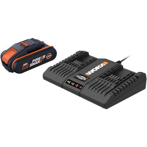 Kit 2 batteries et double chargeur Worx 2x20V
