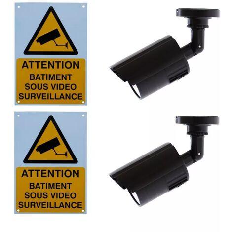 Kit 2 caméras factices DC24-IR & 2 panneaux format A4
