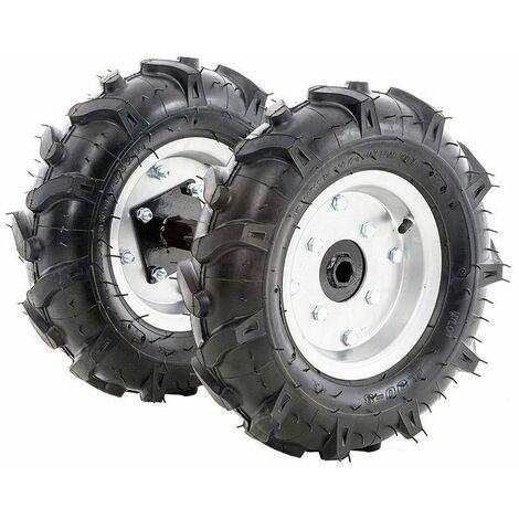 Kit 2 roues pneumatique avec moyeux pour motobineuse et motoculteur 400x8 LEA - Noir