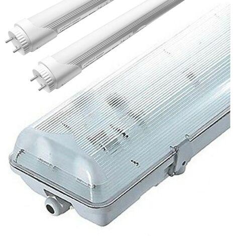 Kit 2 tubes led 120cm 6000K + boitier étanche IP65 - B120X2T6000