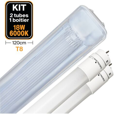 Kit 2 tubos led T8 18 W Blanco frío + Caja impermeable 120 cm
